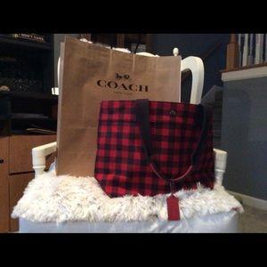 Coach canvas tote bag. 18wide x 11 H x 6W